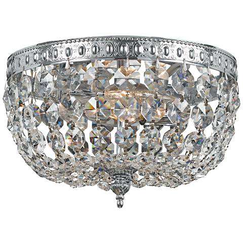 "Crystorama Basket Crystal 10"" Wide Chrome Ceiling Light"