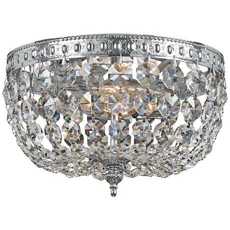 "Crystorama Basket Crystal 10"" Wide Chrome Ceiling Light"