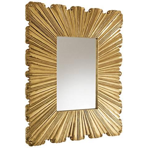 "Linen Fold Brass 39 1/4"" x 31 1/2"" Sunburst Wall Mirror"