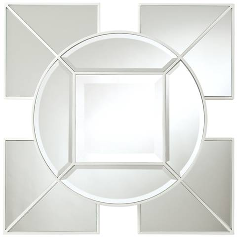 "Arabesque White Geometric 24"" Square Silver Wall Mirror"