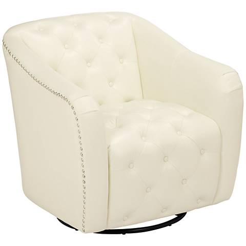 Ridley Bolt Pearl Faux Leather Swivel Accent Chair