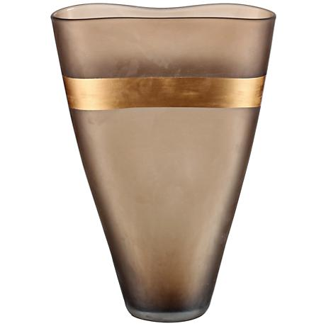"Viz Glass Gold Strip 15"" High Matte Amber Art Glass Vase"