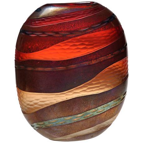"""Viz Glass Strata Amber 14"""" High Hand-Blown Art Glass Vase"""