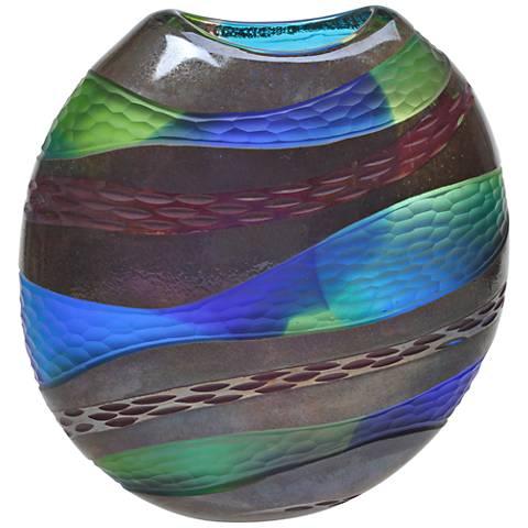 "Viz Glass Strata Deep Sea Blue 12""H Hand-Blown Glass Vase"