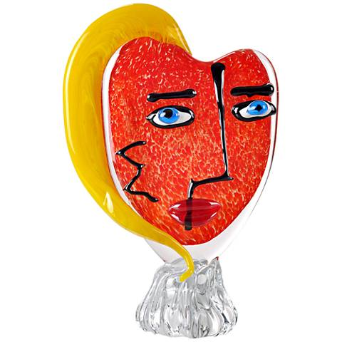 "Viz Glass Red Face Yellow 12""H Art Glass Table Sculpture"