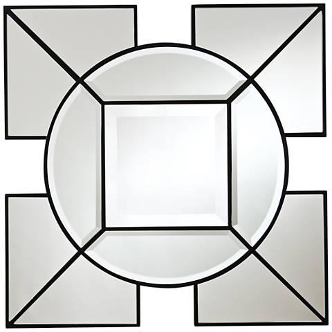 """Arabesque Black Geometric 24"""" Square Silver Wall Mirror"""
