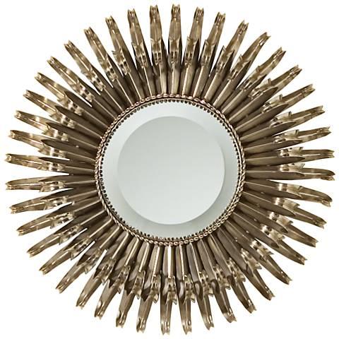"""Aztec Sunburst Nickel Iron 19"""" Round Wall Mirror"""
