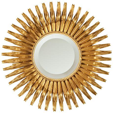 """Aztec Sunburst Gold Leaf Iron 19"""" Round Wall Mirror"""