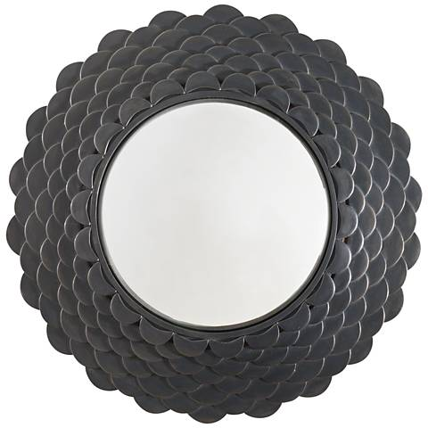 "Pisces Natural Iron Scales 25 3/4"" Round Wall Mirror"