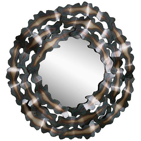 """Clouds Torched Iron Ribbons 39"""" Round Wall Mirror"""