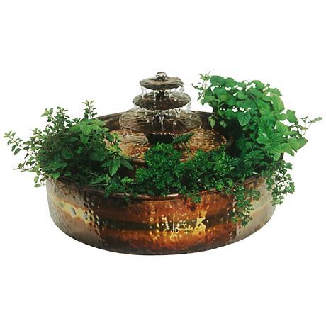 "Raintree Planter 9""H Indoor/Outdoor Copper Table Fountain"