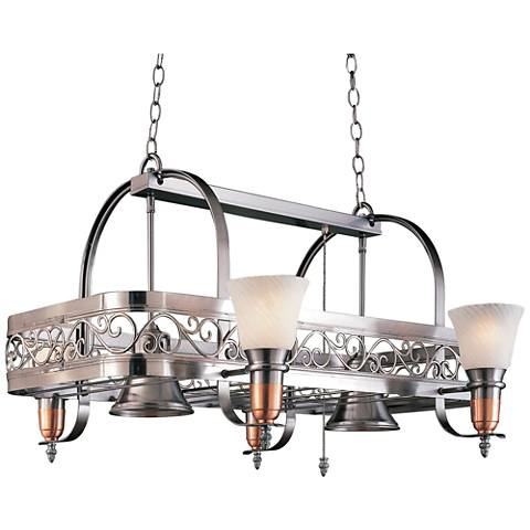 "Odysee 36"" Wide 6-Light Satin Steel Pot Rack Chandelier"