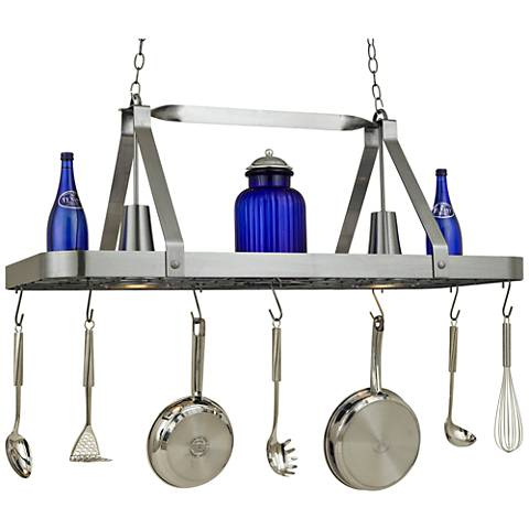 "Sterling 44"" Wide 2-Light Satin Steel Pot Rack Chandelier"