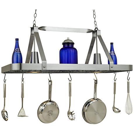 "Sterling 44"" Wide 2-Light Satin Steel Pot Rack Chandelier"