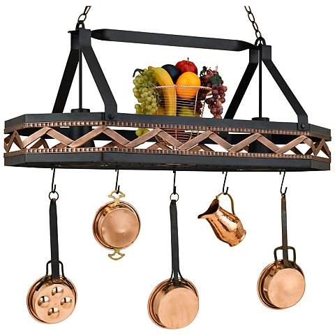 "Sonoma 42"" Wide 2-Light Black Leather Pot Rack Chandelier"
