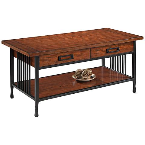 Leick Ironcraft Metal and Oak Top 2-Drawer Coffee Table