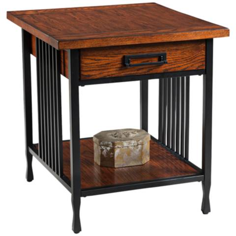 Leick ironcraft metal and mission oak top 1 drawer end for Leick swing arm floor lamp with wood end table