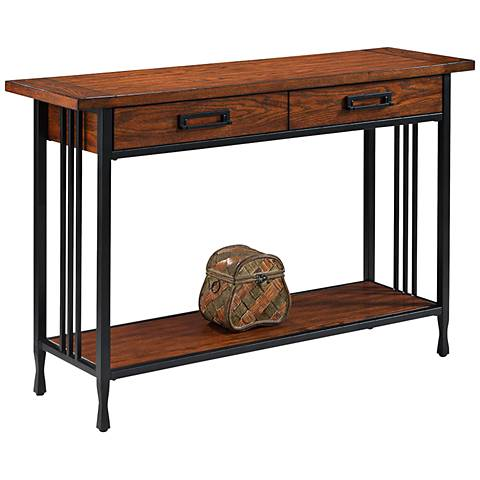 Leick Ironcraft Black Metal and Oak Top 2-Drawer Sofa Table