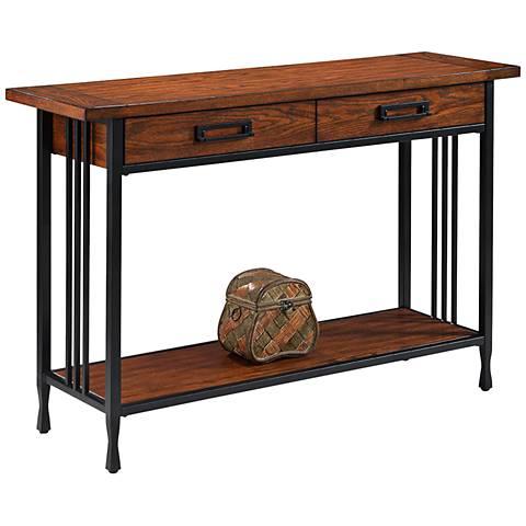 Leick ironcraft black metal and oak top 2 drawer sofa for Sofa table metal