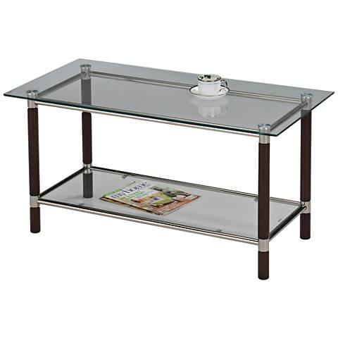 Leick Coffee and Brushed Nickel Glass Top Coffee Table