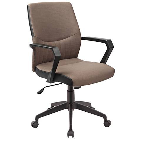 Leick Brown Faux Leather Over Jet Black Base Office Chair