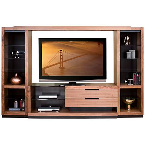 Stratus Walnut 4-Piece Entertainment Wall with Open Piers