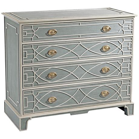 The Morning Room Blue and White Wood 4-Drawer Chest