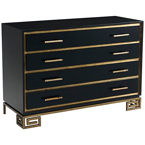 Inky Fascinate Black Wood 4-Drawer Chest