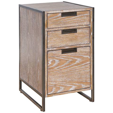 Belmont Rustic Wire Brush Ash 3-Drawer File Cabinet