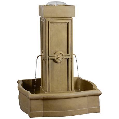 "Kenroy Home Quatrefoil 38""H Sandstone Outdoor Fountain"