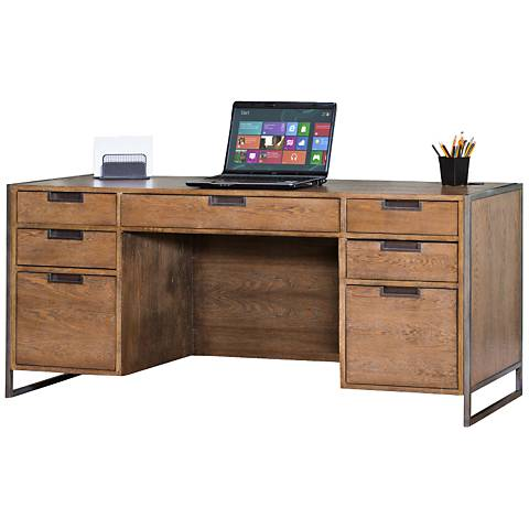 Belmont Rustic Wire Brush Ash 7-Drawer Credenza