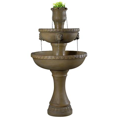 "Kenroy Home Lyon 58""H Travertine Planter Outdoor Fountain"
