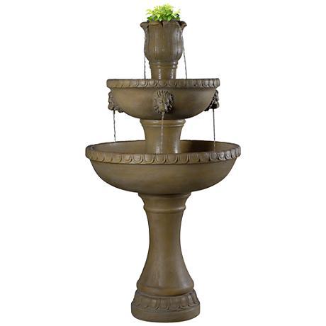 "Kenroy Home Lyon 58""H Travertine Planter Outdoor Fountain"