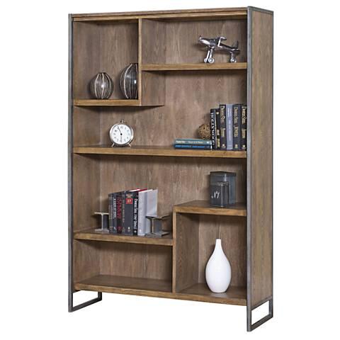 "Belmont Rustic Wire 42"" Wide Brush Ash Bookcase"
