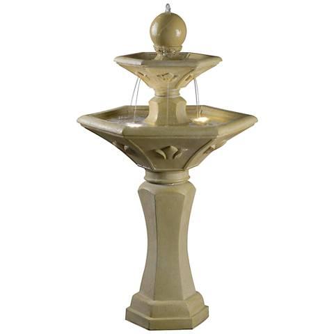 "Kenroy Home Provence 44""H Travertine Solar LED Fountain"