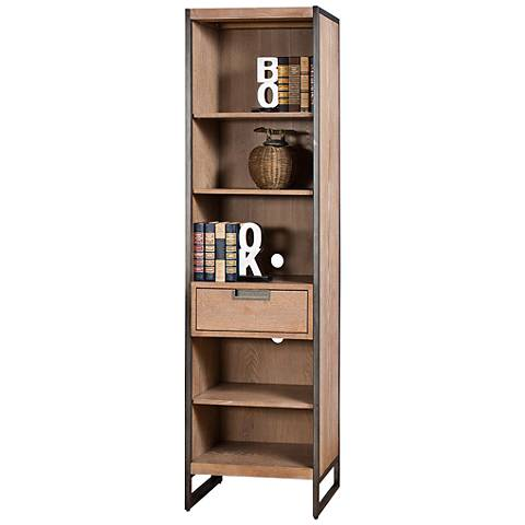 "Belmont 66"" High Rustic Wire Brush Ash 1-Drawer Audio Pier"