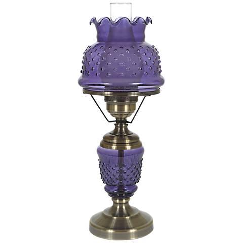 "Purple Hobnail Glass 22"" High Hurricane Table Lamp"