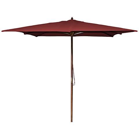 La Jolla Burgundy 8 1/2' Wooden Square Market Umbrella