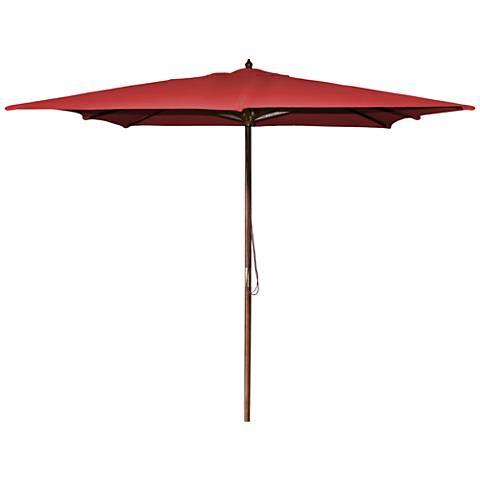 La Jolla Red 8 1/2' Wooden Square Market Umbrella