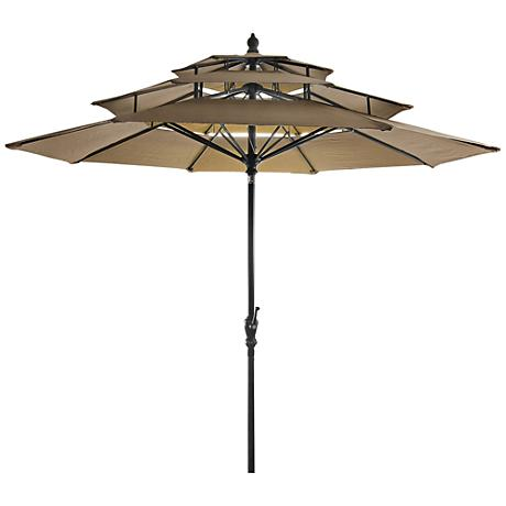 Coronado Khaki 9' Steel 3-Tier Umbrella