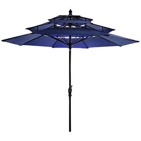 Coronado Navy 9' Steel 3-Tier Umbrella