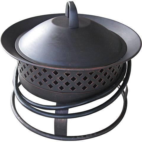 Aurora Rubbed Bronze Steel Gas Firebowl