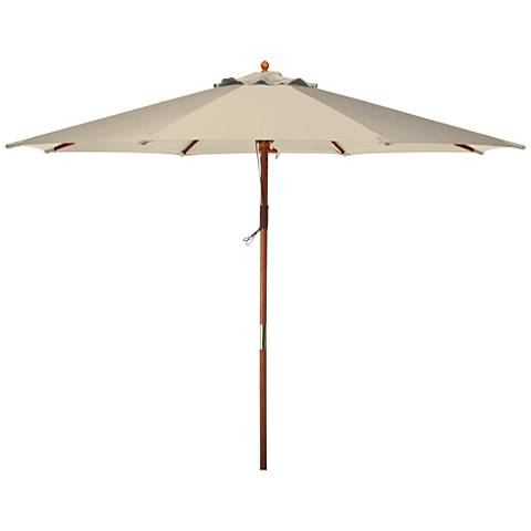 Doreen Natural 9' Wood Market Umbrella
