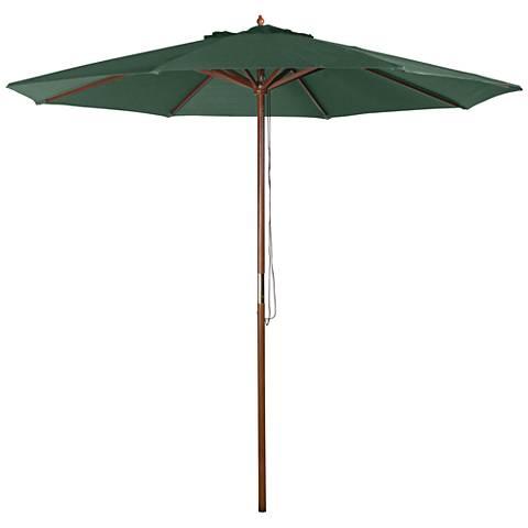 Hunter Green 9' Wood Market Umbrella