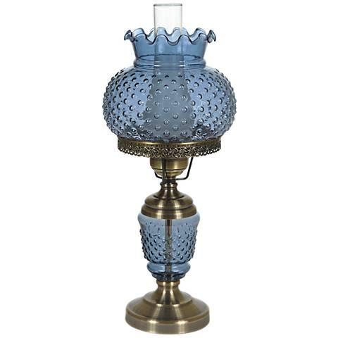 blue hobnail glass 23 high hurricane table lamp 1r404. Black Bedroom Furniture Sets. Home Design Ideas