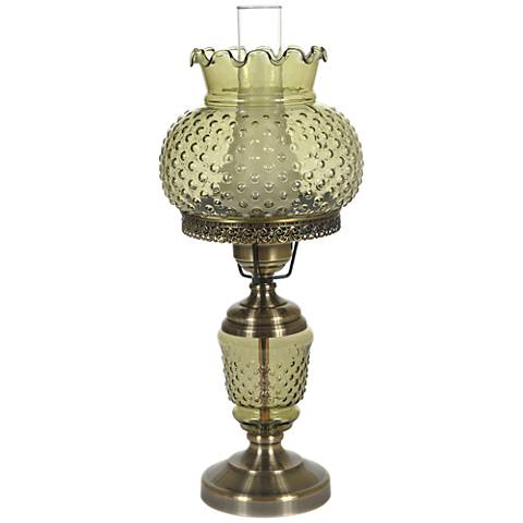 "Green Hobnail Glass 23"" High Hurricane Table Lamp"