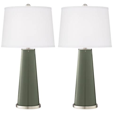 Deep Lichen Green Leo Table Lamp Set of 2