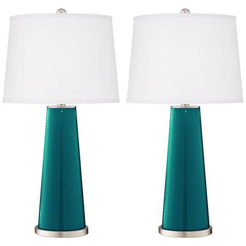 Magic Blue Metallic Leo Table Lamp Set of 2