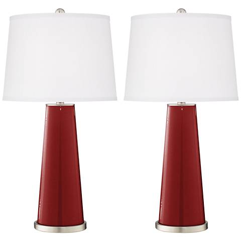 Cabernet Red Metallic Leo Table Lamp Set of 2