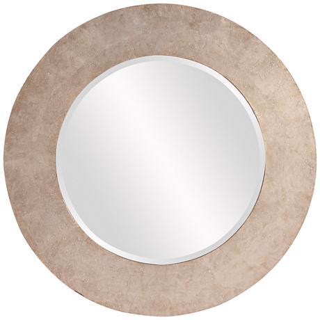"""Howard Elliott Amanda Silver Wood 36"""" Round Wall Mirror"""